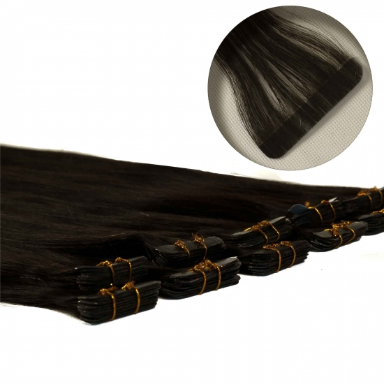 %100 Doğal Saç / Micro Bant Kaynak / Siyah / 10 Adet