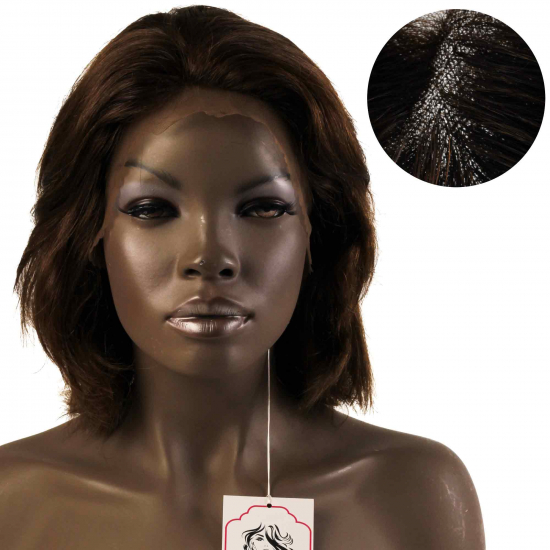 % 100 Doğal Saç Medikal - Tül Peruk / KOYU KÜLLÜ KUMRAL / MEDIUM / LACE 13*5 / 13