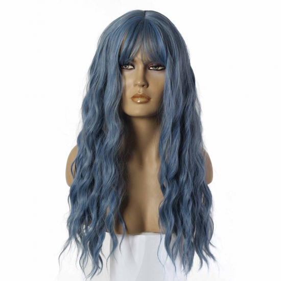 LC194 - 1 / BLUE - Sentetik Peruk - Mavi - Uzun - Dalgalı - Kaküllü