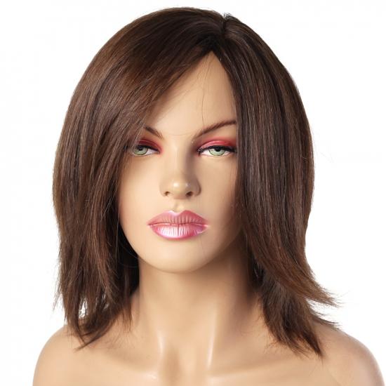 %100 Doğal Saç Peruk / Boyasız, Doğal Düz / Koyu Kumral / Ciltli
