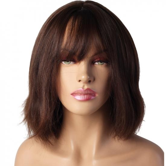 %100 Doğal Saç Peruk / Boyasız, Kaküllü, Doğal Düz / Açık Kestane / Ciltli