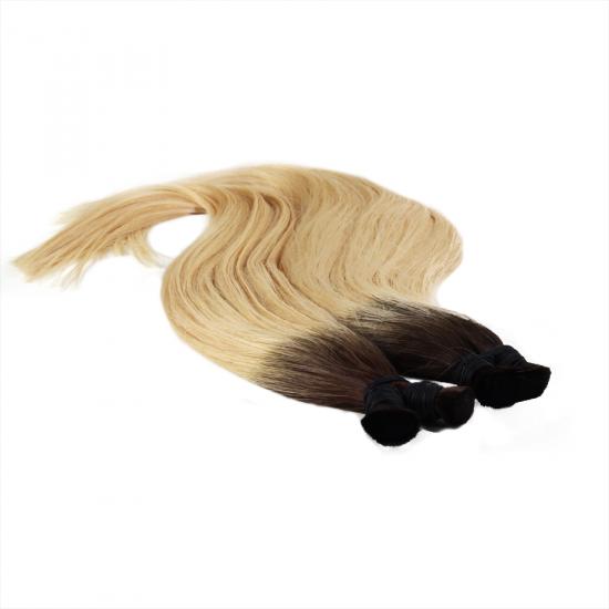 %100 Doğal İnsan Saçı / Koyu Kahve Platin Sarı Ombreli / Ham Saç / 100 Gr.