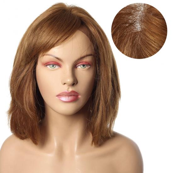 % 100 Doğal Saç Medikal - Tül Peruk / Kumral / MEDIUM / 2,5 PART - 6.1- 270
