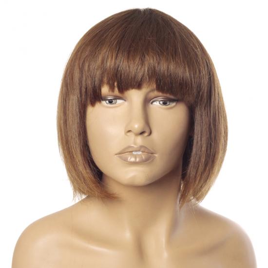%100 Doğal Saç Peruk - Boyasız - Kaküllü - Kumral - 30 Cm - M-6-18