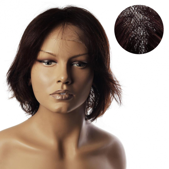% 100 Doğal Saç Medikal - Tül Peruk - KESTANE - SMALL - MONO 13*5 - 5 - 25