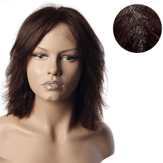 % 100 Doğal Saç Medikal - Tül Peruk - ORTA KESTANE - SMALL - MONO 13*5 - 5K - 270