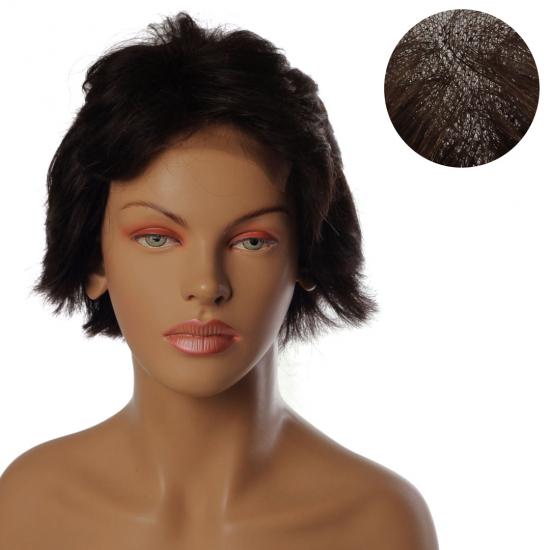 % 100 Doğal Saç Medikal - Tül Peruk / Koyu Kahve / TP185