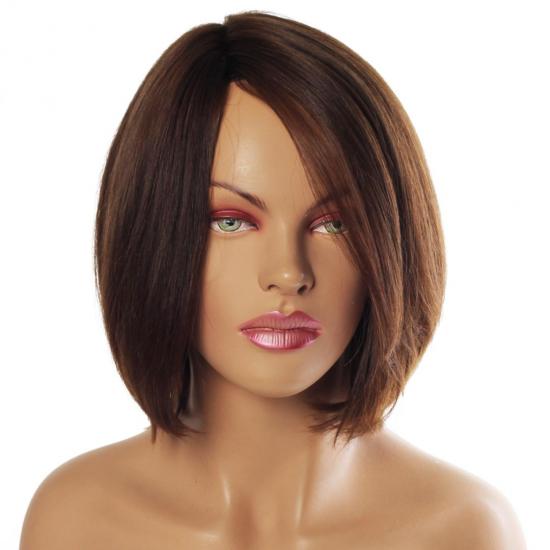 %100 Doğal Saç Peruk / Boyasız / Koyu Kumral / Yan Ayrımlı / Ciltli / M180
