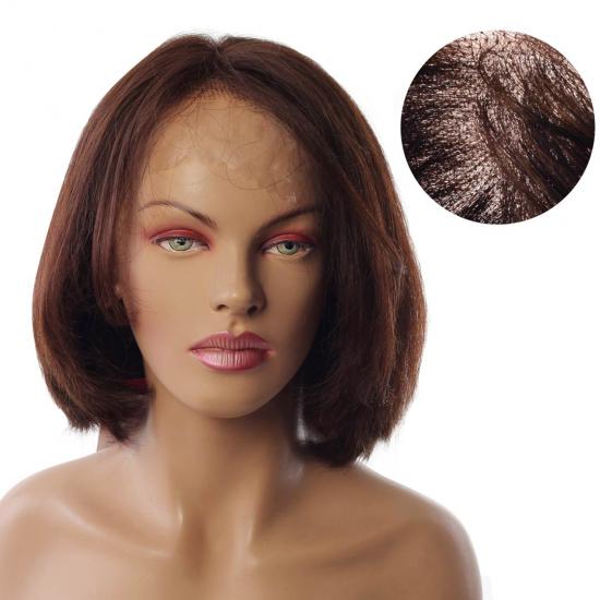 % 100 Doğal Saç Medikal - Tül Peruk - KESTANE - SMALL - MONO 13*5 - 295