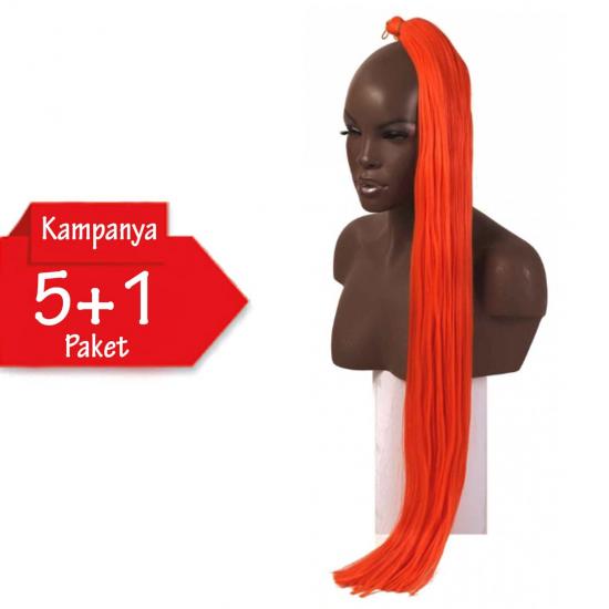 5 + 1 - MISS HAIR K FIBER BRAID - Orange - Zenci Örgüsü Saçı, Afrika Örgüsü Malzemesi,Rasta,Topuz Saçı