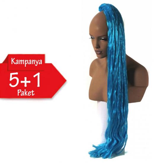 5 + 1 - MISS HAIR K FIBER BRAID - S.Blue - Zenci Örgüsü Saçı, Afrika Örgüsü Malzemesi,Rasta,Topuz Saçı